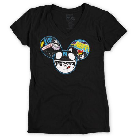 Neff x Deadmau5 Girls Radder Black V-Neck Tee Shirt