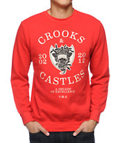 Crooks and Castles Decade Medusa Red Crew Neck Sweatshirt