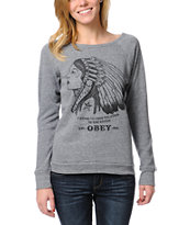 Obey Good Relation To Earth Grey Crew Neck Sweatshirt