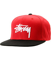 Stussy Stock 2-Tone Red & Black Snapback Hat