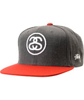 Stussy SS Link Charcoal Grey & Red Snapback Hat