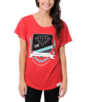 Diamond Supply Girls Society Red Dolman Tee Shirt