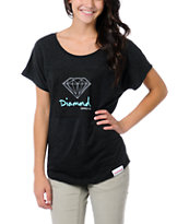 Diamond Supply Girls OG Sign Charcoal Dolman Tee Shirt