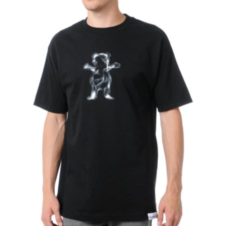 Diamond Supply x Grizzly Grip Tape Smoke Bear Black Tee Shirt