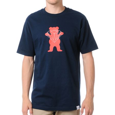Diamond Supply x Grizzly Grip Tape Brilliant Bear Navy Blue Tee Shirt
