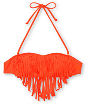 Roxy Surf Essentials Pop Orange Fringe Bandeau Bikini Top