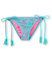 Billabong Harper Pink & Teal Side Tie Crochet Bikini Bottom