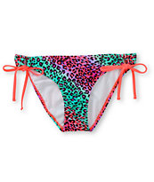 Damsel Fierce Cheetah & Hot Coral Side Tie Bikini Bottom
