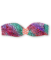 Damsel Fierce Cheetah & Hot Coral Bandeau Bikini Top