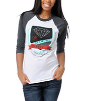 Diamond Supply Girls Diamond Society White & Grey Baseball Tee Shirt