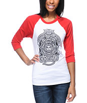 Obey Girls Finlandia White & Red Baseball Tee Shirt
