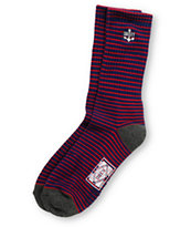 Obey Vanguard Navy & Red Stripe Crew Socks