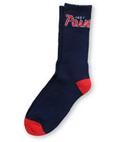 Obey Posse Navy Blue & Red Crew Socks