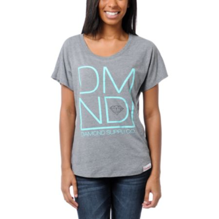 Diamond Supply Girls DMND Grey Tee Shirt