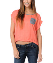 Love, Fire Coral & Grey Button Back Top