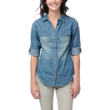 Thread and Supply Girls Denim Chambray Button Up Shirt