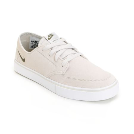 Nike Braata LR Light Bone & Medium Olive & White Skate Shoe