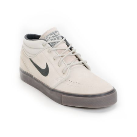 Nike SB Zoom Stefan Janoski Mid Light Bone & Dark Brown Suede Shoe