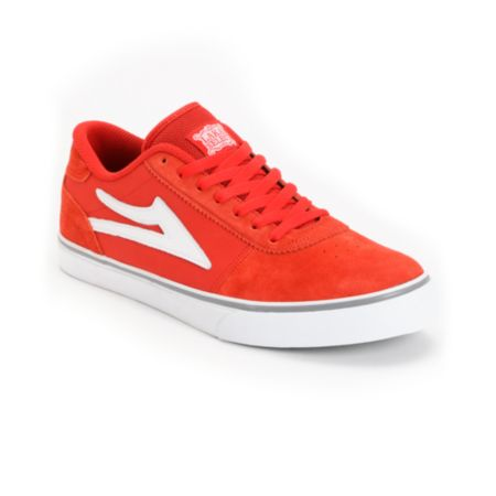 Lakai Manchester Select Red & White Suede Skate Shoe