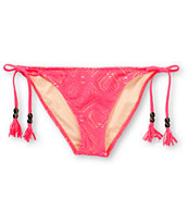 Empyre Girls Bondi Neon Red Crochet Side Tie Bikini Bottom