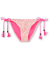 Empyre Girls Bondi Pink & White Crochet Side Tie Bikini Bottom