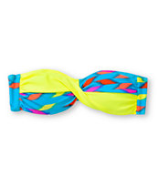 Empyre Girls Huntington Ikat Neon Twist Bandeau Bikini Top
