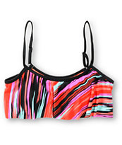 Empyre Girls Venice Painted Stripe Flounce Bikini Top