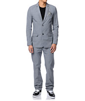 Volcom Dapper Stone Pewter & Blue Plaid Suit