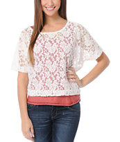 Lunachix Ivory White Lace Crop Tee Shirt