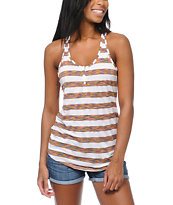 Empyre Girls Henley White Stripe Racerback Tank Top