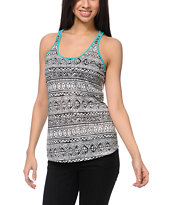 Empyre Girls Nocella Diamond Print Teal Tank Top