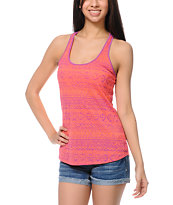 Empyre Girls Nocella Diamond Print Neon Orange Tank Top