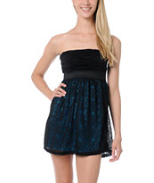 Lunachix Black & Neon Blue Crochet Strapless Dress
