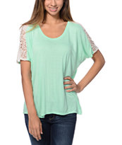 Empyre Girls Avanna Mint & Vanilla Crochet Tee Shirt