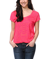 Empyre Girls Hatfield Fuchsia Tribal Print Tee Shirt