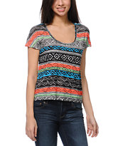Empyre Girls Hatfield Natural Stripe Tribal Print Tee Shirt
