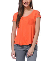 Empyre Girls Emmi Coral Crochet Pocket Tee Shirt