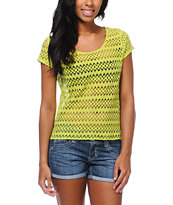 Empyre Girls Opal Lime Green Zig Zag Crochet Tee Shirt