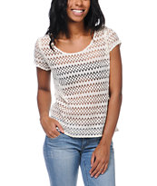 Empyre Girls Opal Cream Zig Zag Crochet Tee Shirt
