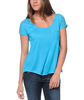 Empyre Girls Emmi Blue Crochet Pocket Tee Shirt