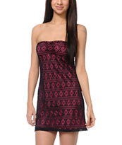 Empyre Girls Amber Neon Pink & Black Crochet Strapless Dress