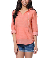 Empyre Girls Alta Coral Woven Hooded Shirt