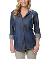 Empyre Girls Salinas Slub Hooded Denim Shirt