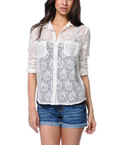 Empyre Girls Mira Lace Natural Button Up Shirt