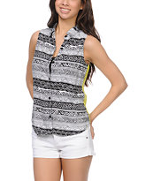 Empyre Girls Nadia Sulphur Tribal Print Sleeveless Shirt