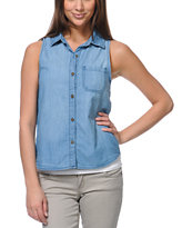 Empyre Girls Elle Sunbleached Sleeveless Denim Shirt