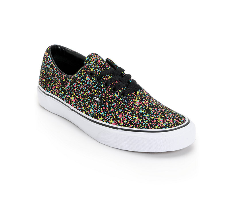 new vans era overspray black low top shoes yellow
