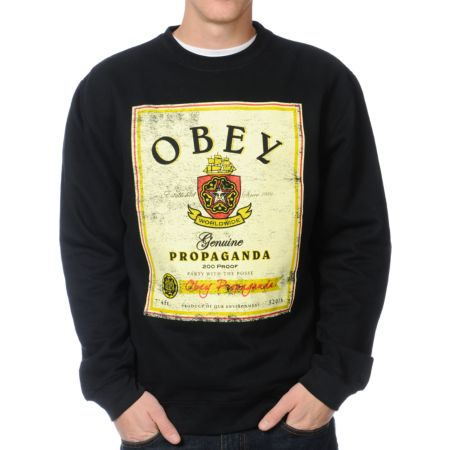 Obey Whiskey Posse Flyer Black Crew Neck Sweatshirt