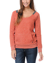 Volcom Girls Moclov Speckle Red Crew Neck Sweatshirt