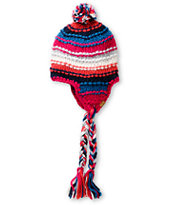 Roxy Northern Lights Pink & Blue Earflap Beanie